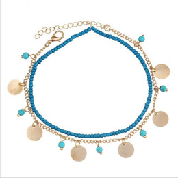 Wholesale Green Anklet - Fashion Bead Anklets Luminous Natural Stone Jewelry Austrian Crystal Anklet Alloy Acrylic Bangle Wholesale Silicone Bracelets 2 Colors