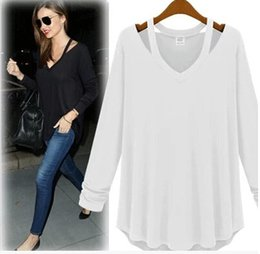 Wholesale Batwing Off Shoulder Tops - 2016 Autumn Short Sleeve Tops Tee Shirt Femme Sexy Off the Shoulder Tops for Women T Shirt V-Neck Casual T-Shirts