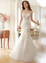 Wholesale Satin Bow Corset - 2016 New Listing O-Neck Sleeveless Beaded Waist Corset Fishtail Lace Mermaid Wedding Dress Elegant Chic Plus Size Brazil Retail