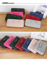 Wholesale Cute Phone Holders - Wholesale- 2016 Female Leather Wallet Clutches Korean Cute Bowknot 3D Purse Famous ladies Women Large Capacity Lunch Box Cellphone Pocket