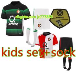 Wholesale Shorts Top Sets - Free Shipping Top Quality KIDS Set 2017 2018 Feyenoord Rotterdam Football Shirt 17 18 New Kuyt Lex Immers Simon Kramer Home Soccer Jersey