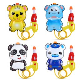 Wholesale Plastic Shooters - Cartoon Plastic 1L Backpack Pull Water Gun Soaker Squirt Blaster Shooter Pistol Long Rang Toy Gift For Kids