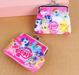 Wholesale Children Plain Stocking - Wholesale- New cartoon my little pony Coin Purse kids wallet Girls Kids money bag Children Party Gift in stock