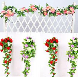 Wholesale Artificial Flower Hanging Garlands - 240cm Fake Flowers Silk Roses Ivy Vine Artificial Flowers With Green Leaves For Home Wedding Decoration Hanging Garland Decor