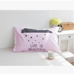 Wholesale Pillow Case Pair - Wholesale- One Pair Cotton Baby Pillow Case Cute Pillowcase Cartoon Pillow Shams Sleeping Bed Pillow Case Cover 48x74cm