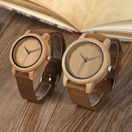 Wholesale Men Leather Band Quartz Watches - BOBO BIRD Women Watches Bamboo Wooden Watch Real Leather Band Quartz Watch As Gift For Men Ladies Accept OEM