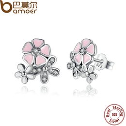 Wholesale Blossom Chandelier - BAMOER 925 Sterling Silver Poetic Daisy Cherry Blossom Drop Earrings Mixed & Clear CZ Pink Flower Women Engagement PAS461
