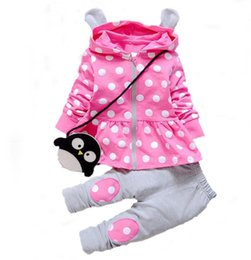 Wholesale Cute Winter Outfits For Girls - Clothing Sets Kids Baby Girl Clothes Sets Fashion High Qulity Dot Print Hooded Set for Girl Outfit Toddler Infant Children Suit