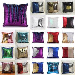 Wholesale Cushion Decorations - DIY Mermaid Sequin Cushion Cover 40*40cm Double Color Reversible Magical Throw Pillow Case Reversible Pillowcase Home Car Decoration OOA2673
