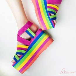 Wholesale Rainbow Heels - Free shipping rainbow colorful women's platform cross strap 9 cm sandals