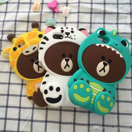 Wholesale Yellow Bear Cases - Cute 3D Colorful Tiger hat Bear Soft Silicone Phone cover for iPhone 6 6s 7 Plus SAM A3 A5 A7 2017 cover Back Funda Coque