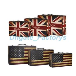 Wholesale Wood Suitcase - England America Flag Style Vintage Suitcase Storage Box Old-fashioned Decor Leather Wooden Zakka Case jewelry Organizer JF-614