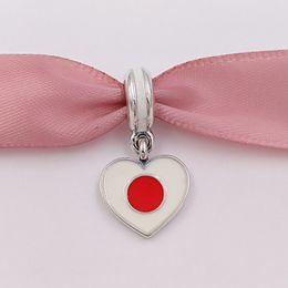 Wholesale Fit Japan - 925 Silver Beads Japan Heart Flag Pendant Charm Fits European Pandora Style Bracelets Necklace for jewelry making 791553ENMX