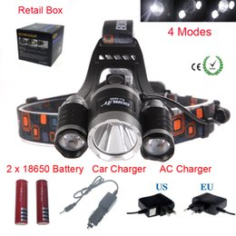 Wholesale Wholesale Car Headlights - Boruit 3x XM-L T6R5 LED 6000 Lm Headlight Lampe Frontale Head Torch HeadLamp Lantern+Ac Car EU US AU UK plug Charger& 3.7V18650 Battery