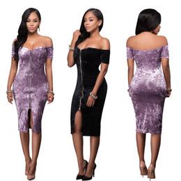 Wholesale Girls Clubbing Clothes - Women Lady Girls Sexy Casual Fashion Black Gold Diamond Velvet Zipper Collar Nightclub Dress Skirt Clothing 2875