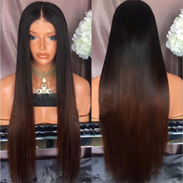 Wholesale Real Hairstyles - Ombre Color Human Hair Straight 100% Real Brazilian Hair Glueless Lace Front Wig Full Lace Wig 150% Density Lace front wig