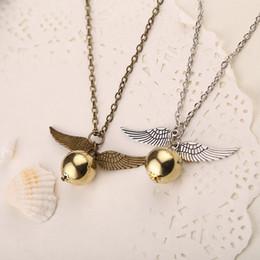 Wholesale Mans Pendent - Popular Harry Potter Necklace Vintage Style Angel Wing Charm Golden Snitch Pendent Necklace For Men Necklace Tainless Chain
