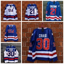 Wholesale Usa Hockey Jersey Xl - 1980 Miracle On Ice Team USA 21 Mike Eruzione Hockey Jerseys Pullover 30 Jim Craig Blue White CCM Throwback Jersey Accept Mix Order