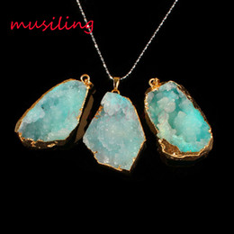 Wholesale Green Rock Crystal - Pendant Necklace Chain Rock Crystal Geode Druzy Pendant Gem Stone Pendant Jewelry Magic Stone Charms Gold Plated Fashion Mens Jewelry