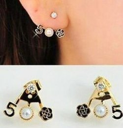 Wholesale sweet tins - Sweet personality imitation pearl flowers roses chic women removable drip channel number 5 earrings Free shipping