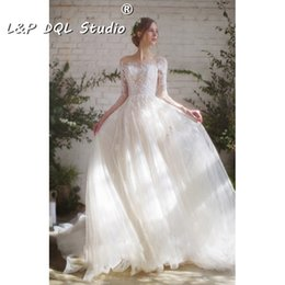 Wholesale Illusion Bridal Gowns Winter - Attractive Ball Gown Wedding Dresses Court train Fall Winter Illusion Sheer with Floral Applique Lace Bridal Gowns