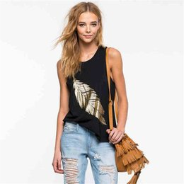 Wholesale Graphic Tees Tanks - Summer 2017 Women's Sexy Slim Ladies Tank Cotton Blend Leaves Print Graphic Tees Sleeveless Top Casual Tanks for Wholesale S-3XL 5183