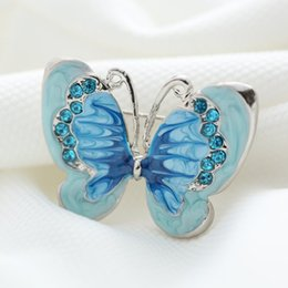 Wholesale Small Crystals Brooch - Wholesale- Beautiful bule Butterfly Small Insect Brooch Pins Silver Plated Crystal Brooches Women Decoration Jewelry Clothes Accessories