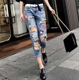 Wholesale Hole Ladies Jeans - High Quality Fashion Ladies Jeans Hit Color Hole Custom Special Embroidered Flowers Jeans Loose Thin Side Eight Points Pants for Womens