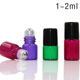 Wholesale Fast Screen Printing - Fast DHL Shipping 600pcs 1ml 2ml Colorful Glass Roll On Bottles with Stainless Steel Metal Ball & Black Cap From Factory