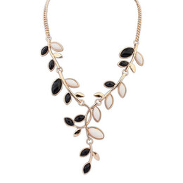 Wholesale Power Zinc - Hot Sale 2015 Real Limited Freeshipping Trendy Women Power Necklaces Resin Link Chain Zinc Plant Collares Leaves Necklace