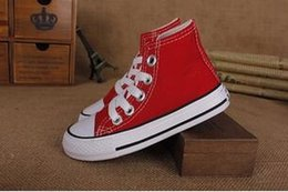 Wholesale High Tops Kids Canvas - dorp shipping Boy&girl Children's Canvas Shoes kids Cute Leisure Sports Shoes low & high top Rubber Bottom 7 colors size 23-34