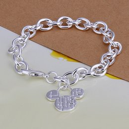 Wholesale Silver 925 Rough - best gift Mickey brand rough 925 silver charm bracelet 8inchs DFMWB289,women's sterling silver plated jewelry bracelet