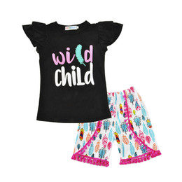 Wholesale Two Cute Babies - Baby Girl Two Piece Sets Fly Sleeve Summer Letter Short T-shirt+Tassel Cropped Printed Pants Colorful Outfits