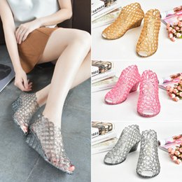 Wholesale Fish Powder - Summer new women's high-heeled fish mouth sandals crystal flash powder transparent jelly bird's nest hollow hole shoes hole hole shoes