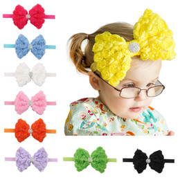 Wholesale Handmade Headbands For Girls - New baby girls headbands Bow Rose Flower Rhinestone bowknot Hairbandds Kids Handmade Hair Accessories for Babies 12colors 12*10cm KHA566