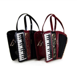 Wholesale Guitar Red Blue - Wholesale-Women Shoulder Bag Italy Braccialini Handbag Organist guitar violin style bags Ladies bag Brand Designer music totes gifts