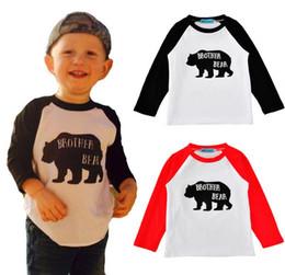 Wholesale Kids Boys Tshirts - 2017 New Spring Autumn Ins Baby Kids Cartoon Letters T-shirt Boys Girl Long Sleeve Cotton Tops Tee T-shirts Children Clothing Tshirts