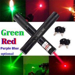 Wholesale Laser Pointer Key Lock - car 50MW Adjustable Focus Burning Match RED Violet Purple Blue Green Beam Laser Pen 301 Pointer Pen Flashlight with Safe Key Lock