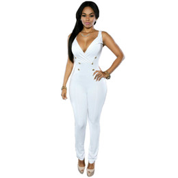 Wholesale Womens Plus Size Cotton Jumpsuits - Hot sale Summer Rompers Womens Polly Black Gold Buttons Jumpsuit Sleeveless Strapless Deep V Neck Solid Bandage Bodycon Playsuit Plus Size