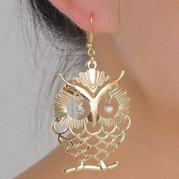 Wholesale Earring Fish - Hot Cute Owl Stud Earrings Fish Hooks Earings Dangles Chandelier Crystal 18K Gold Charm Stud Earring Womens Jewelry Long Eardrop Accessories