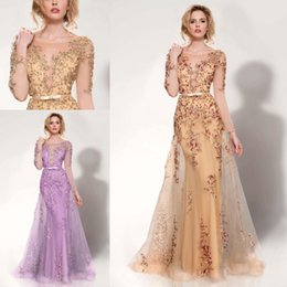 Wholesale Mnm Dresses - MNM Couture 2017 Long Sleeve Evening Party Dresses Champagne Lavender Luxury Beaded Detail Crew Mermaid Arabic Overskirts Prom Gowns