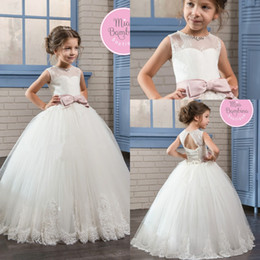 Wholesale High Quality Ribbon Wedding Gown - High Quality 2017 Princess Flower Girls' Dresses Ball Gown Lace Skirt Tulle Pleats Girl's Pageant Dress With Bow Pearls