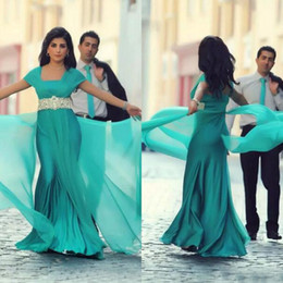 Wholesale Turquoise Silk Dresses - Arabic Dubai Turquoise Mermaid Dresses Evening Wear 2017 Square With Lace Sash Chiffon Flowing Formal Evening Prom Gowns Custom EN8108
