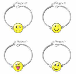 Wholesale Cartoon Lobsters - New Fashion Round glass Cartoon Smile Face Emoji style jewelry beautiful role wristband bracelets new cute children kids girls gif AA107