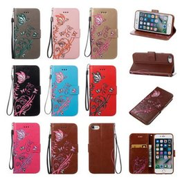 Wholesale Galaxy S2 Phone Case Wallet - Embossed Butterfly Narcissus Leather Case For Samsung Galaxy S2 S3 S5 S8 Plus Case Flip I9100 Wallet Stand Phone Cover For Sony E5