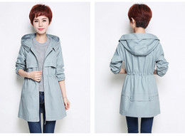 Wholesale Girls Size Trench Coats - Blue juniors girls Cheap bomber jacket teens Fashion varsity fall Hooded floral casual sport out wear long sleeves trench coats plus size
