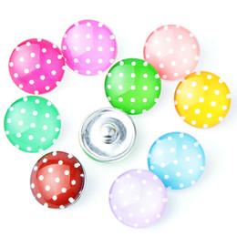 10 unids / lote botón de punto de color Mezclado de 18mm Botón a presión de Cristal de la Joyería de vidrio Snap Fit snap Pulsera snaps joyería para Las Mujeres desde fabricantes