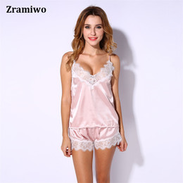 Wholesale Silk Sleepwear Sets - Wholesale- Satin Cami and Shorts Set Lace Nightgowns Comfy Pajamas Pretty Nighties Artificial Silk Sleepwear Sets