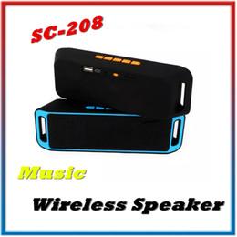 Wholesale Mini Stereo Bluetooth Handsfree - SC-208 Mini Portable Bluetooth Speaker Wireless Megabass Stereo Car Handsfree Call Subwoofer TF USB FM Radio Music MP3 Player