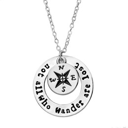 Wholesale Diamond Star Pendant Necklace - not all who wander are lost Compass necklaces Star Traveler Necklace Find Your True North And South Direction Necklace